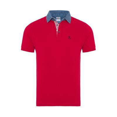 Atelier F&B Denim Gömlek Yaka Kırmızı Pima Koton T-Shirt