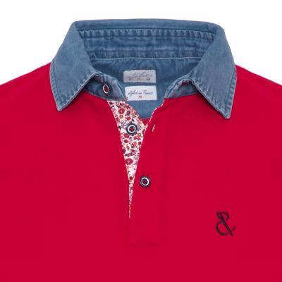 Atelier F&B - Atelier F&B Denim Gömlek Yaka Kırmızı Pima Koton T-Shirt (1)