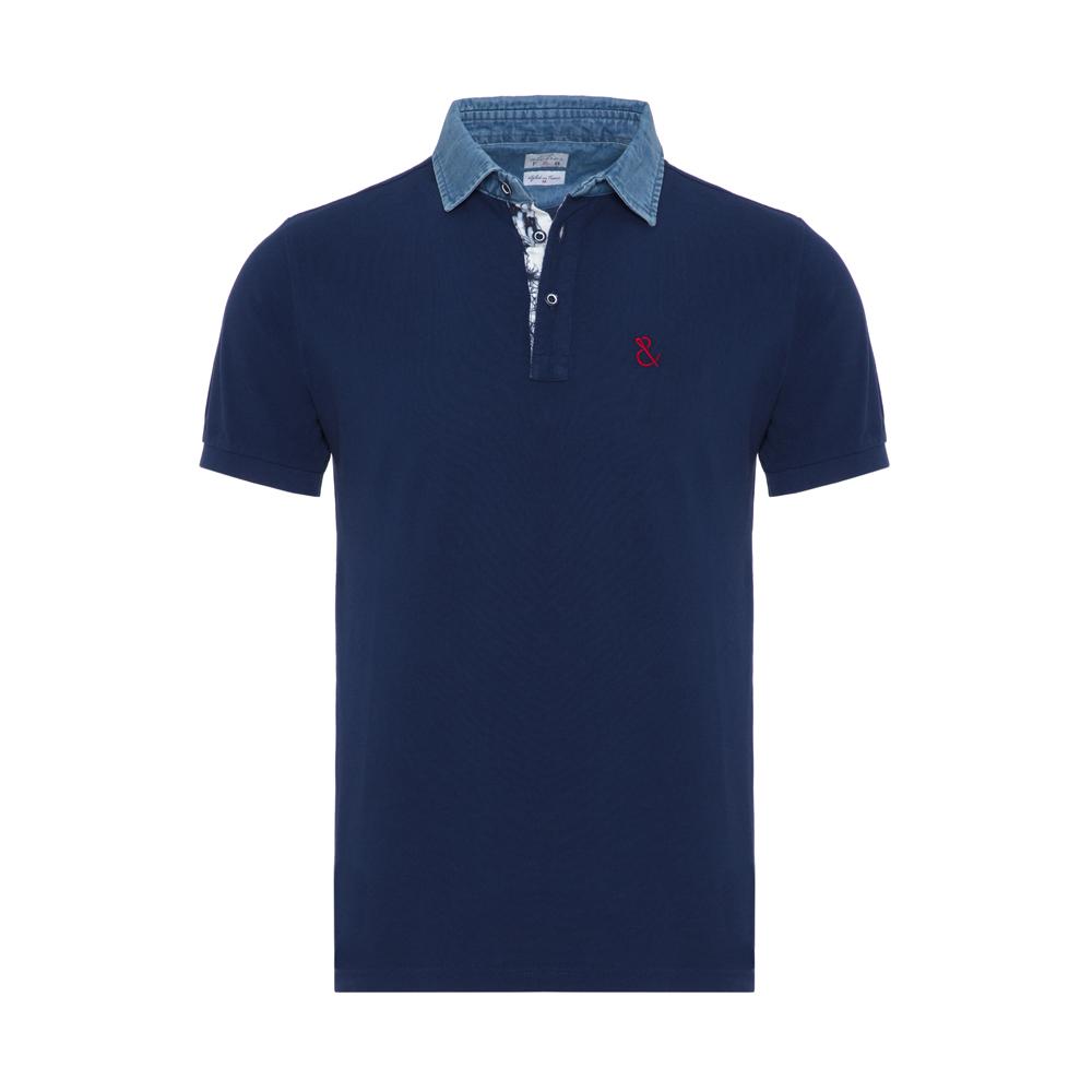 Atelier F&B - Atelier F&B Denim Gömlek Yaka Lacivert Pima Koton Slim Fit T-Shirt