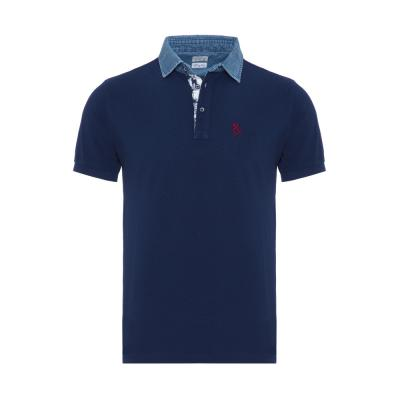 Atelier F&B Denim Gömlek Yaka Lacivert Pima Koton Slim Fit T-Shirt
