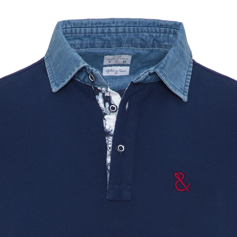 Atelier F&B Denim Gömlek Yaka Lacivert Pima Koton T-Shirt