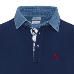 Atelier F&B Denim Gömlek Yaka Lacivert Pima Koton T-Shirt - Thumbnail