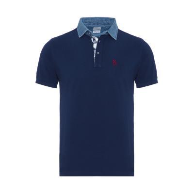 Atelier F&B - Atelier F&B Denim Gömlek Yaka Lacivert Pima Koton T-Shirt