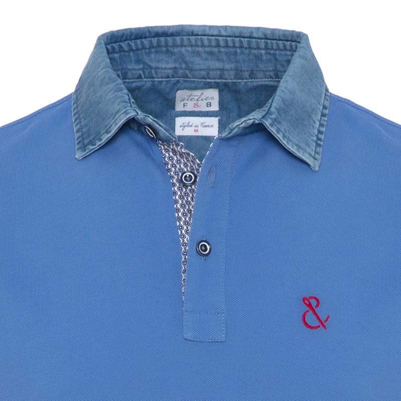 Atelier F&B - Atelier F&B Denim Gömlek Yaka Mavi Pima Koton T-Shirt (1)