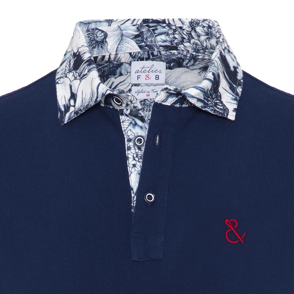 Atelier F&B Desenli Gömlek Yaka Lacivert Pima Koton T-Shirt
