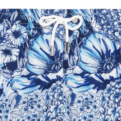 Atelier F&B Lacivert Mavi Beyaz Çiçek Desenli Mayo