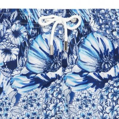 Atelier F&B - Atelier F&B Lacivert Mavi Beyaz Çiçek Desenli Mayo (1)