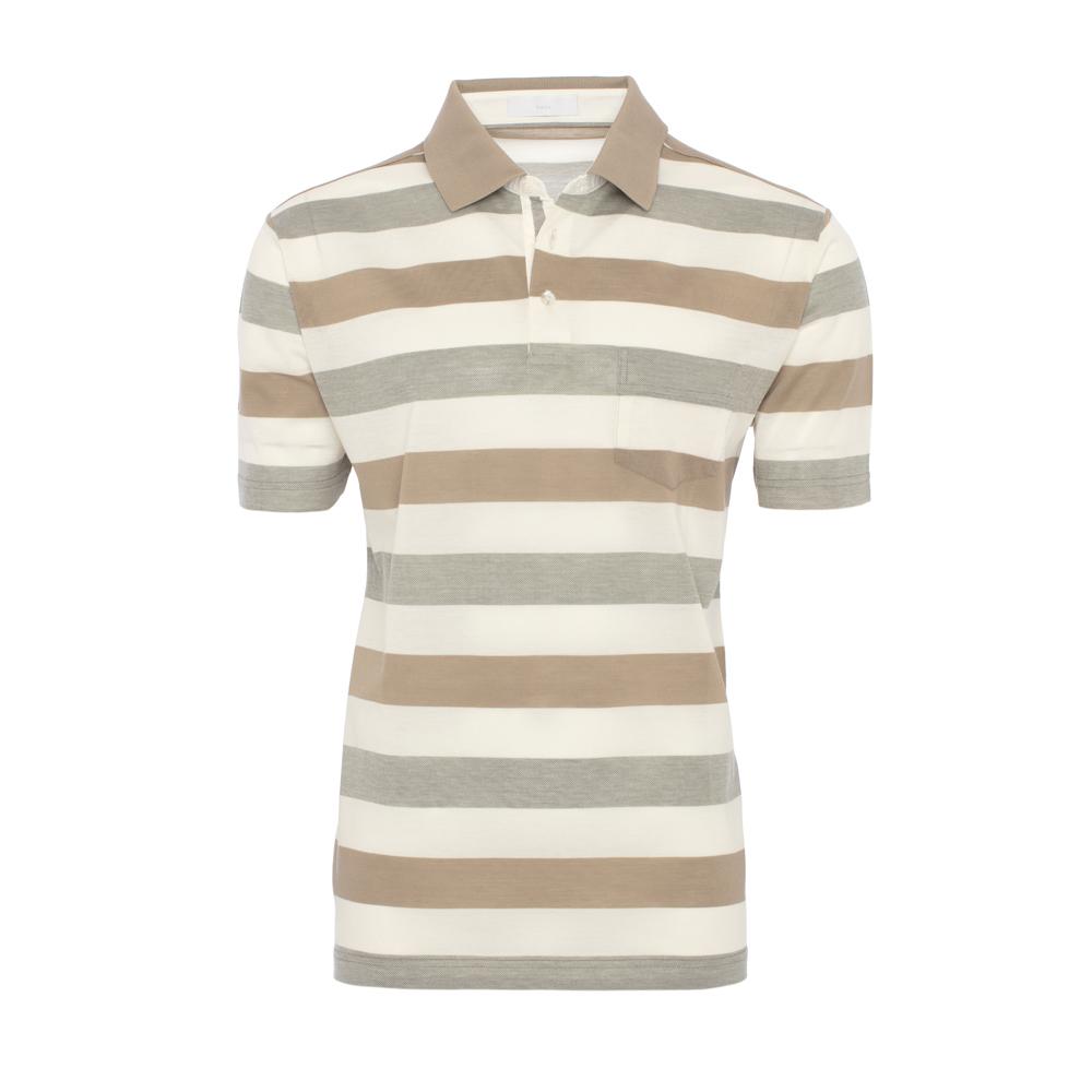 Baila Piquet Bej Krem Enine Çizgili T-Shirt