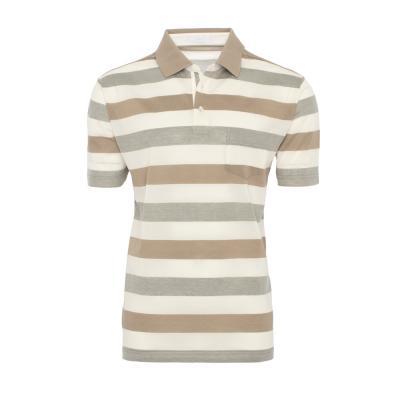 Baila - Baila Piquet Bej Krem Enine Çizgili T-Shirt