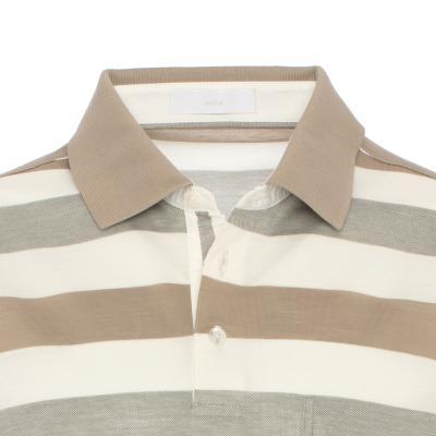 Baila - Baila Piquet Bej Krem Enine Çizgili T-Shirt (1)