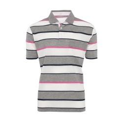 Baila - Baila Piquet Beyaz Gri Enine Çizgili T-Shirt