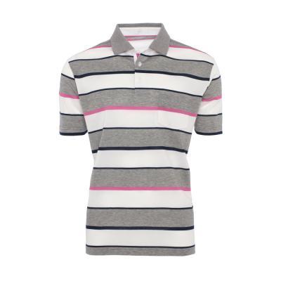 Baila Piquet Beyaz Gri Enine Çizgili T-Shirt