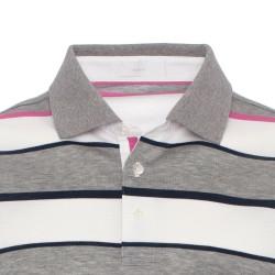 Baila - Baila Piquet Beyaz Gri Enine Çizgili T-Shirt (1)