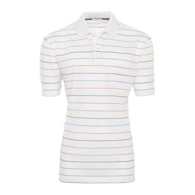 Baila - Baila Piquet Beyaz İnce Enine Mavi Kahve Çizgili T-Shirt
