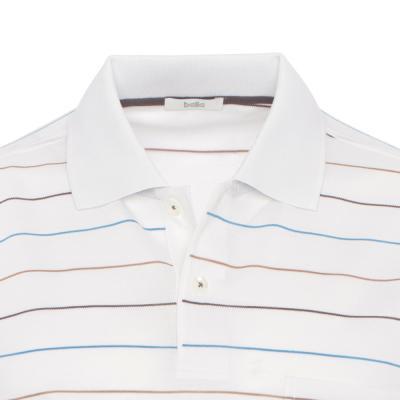 Baila - Baila Piquet Beyaz İnce Enine Mavi Kahve Çizgili T-Shirt (1)