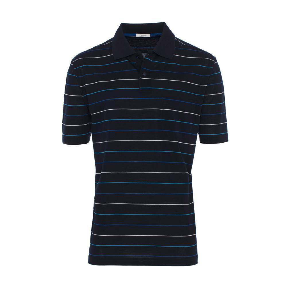 Baila Piquet Laci İnce Enine Mavi Çizgili T-Shirt