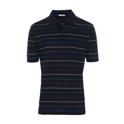 Baila - Baila Piquet Laci İnce Enine Mavi Çizgili T-Shirt