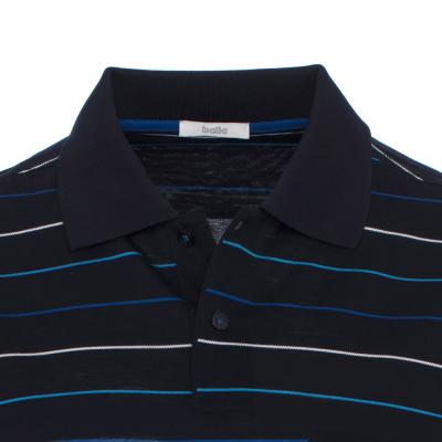 Baila - Baila Piquet Laci İnce Enine Mavi Çizgili T-Shirt (1)