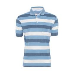 Baila Piquet Mavi Enine Çizgili T-Shirt - Thumbnail