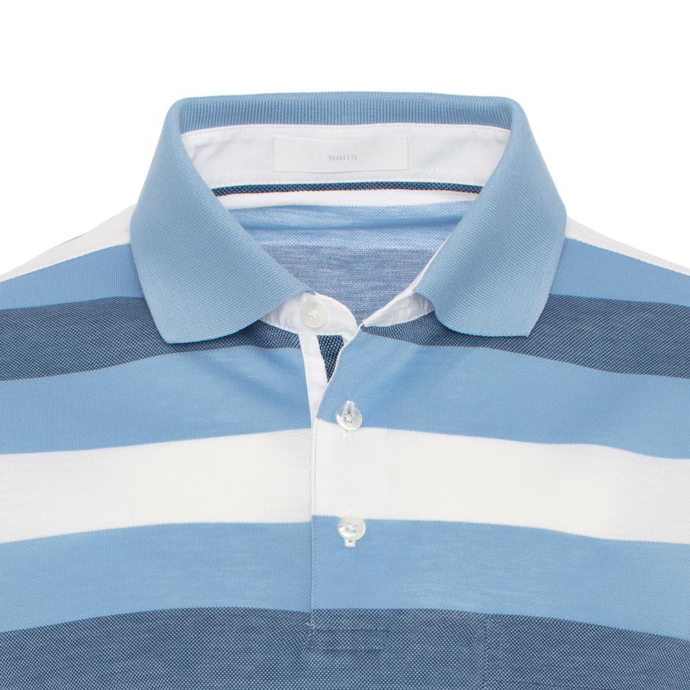 Baila Piquet Mavi Enine Çizgili T-Shirt
