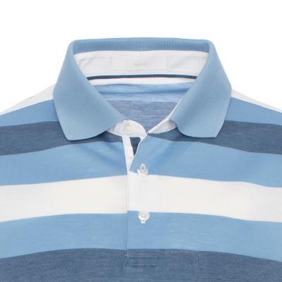 Baila - Baila Piquet Mavi Enine Çizgili T-Shirt (1)