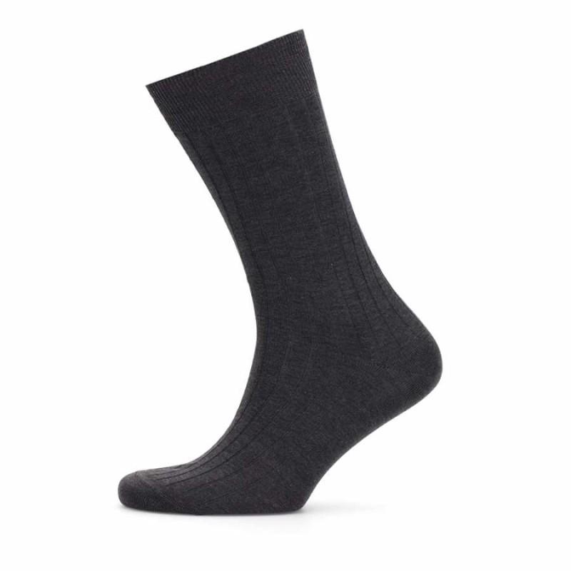 Bresciani - Bresciani Anthracite Striped Socks  (1)