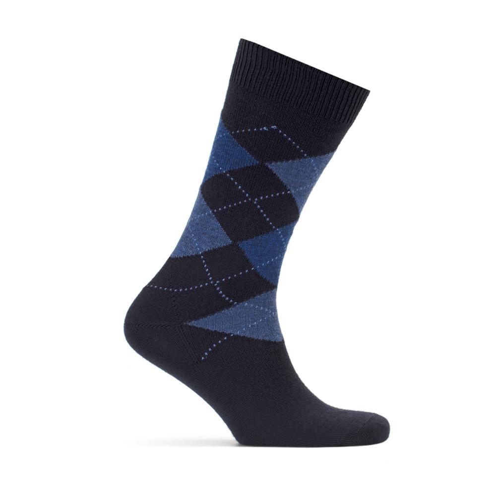 Bresciani Baklava Desenli Laci Mavi Yün Çorap