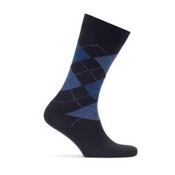 Bresciani - Bresciani Baklava Desenli Laci Mavi Yün Çorap