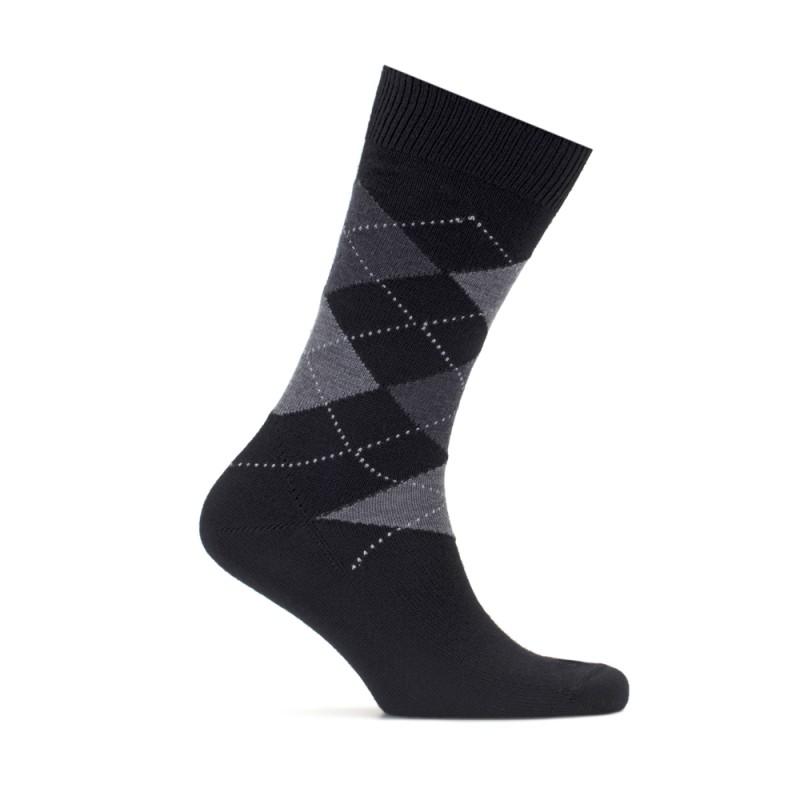 Bresciani - Bresciani Baklava Desenli Siyah Gri Çorap