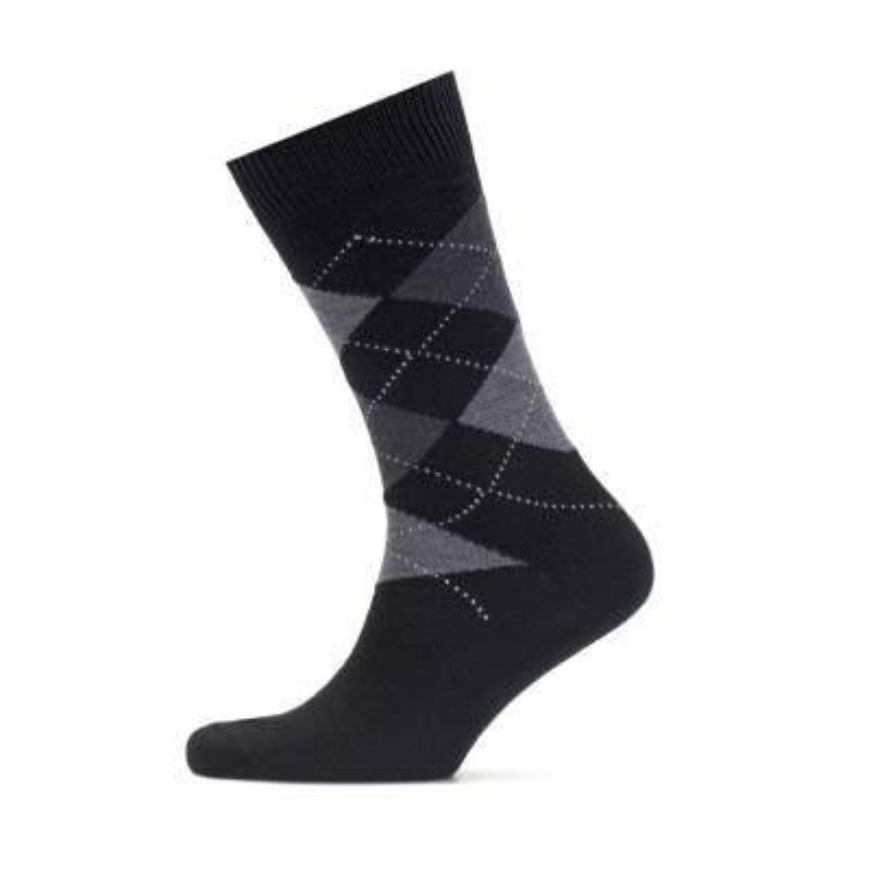 Bresciani - Bresciani Baklava Desenli Siyah Gri Çorap (1)