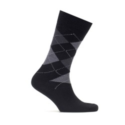 Bresciani - Bresciani Baklava Desenli Siyah Gri Yün Çorap