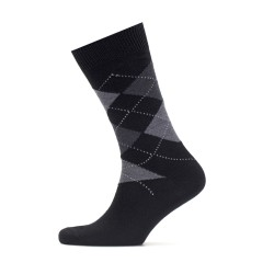 Bresciani Baklava Desenli Siyah Gri Yün Çorap - Thumbnail