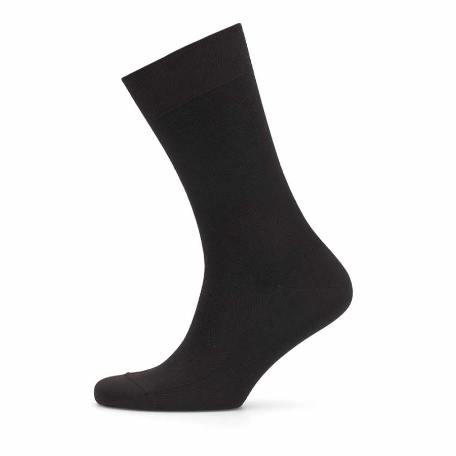 Bresciani Black Brown Herringbone Socks