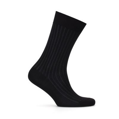 Bresciani Black Grey Striped Socks