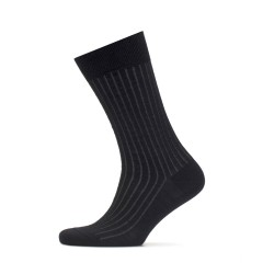 Bresciani Black Grey Striped Socks - Thumbnail