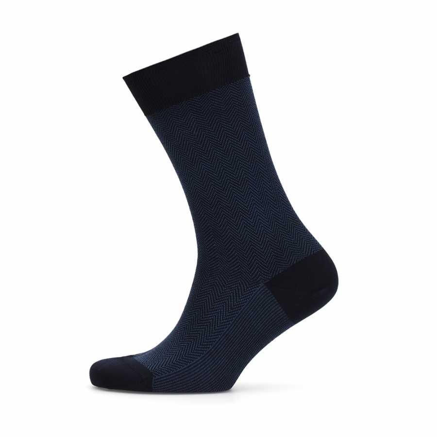 Bresciani Blue Herringbone Socks