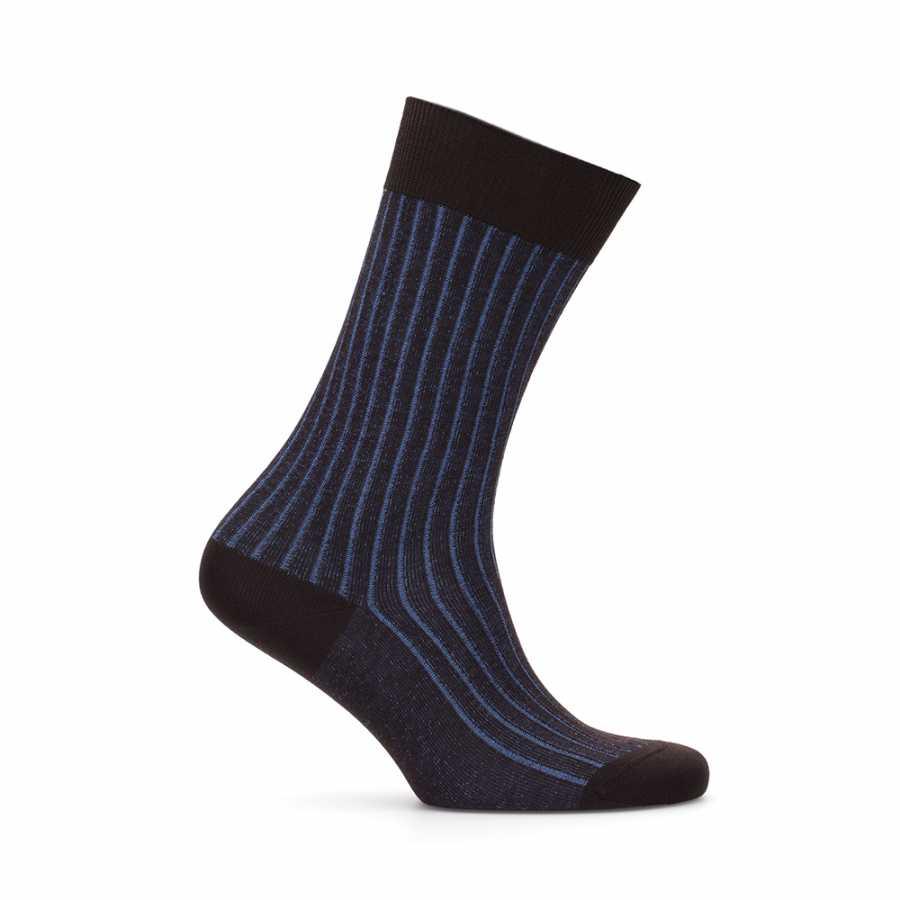 Bresciani - Bresciani Brown Blue Striped Socks