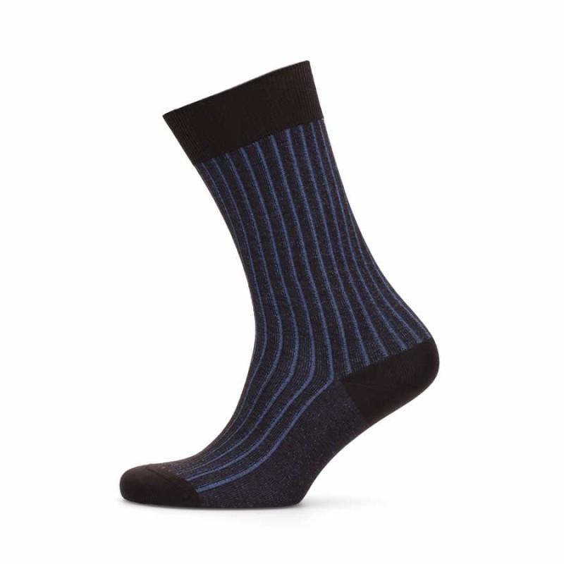 Bresciani - Bresciani Brown Blue Striped Socks (1)