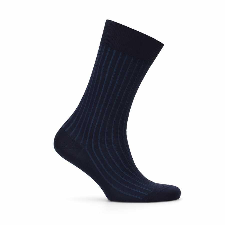 Bresciani Lacivert Mavi Çizgili Çorap