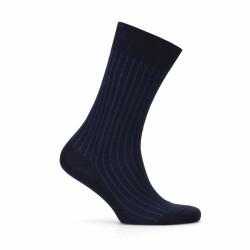 Bresciani Lacivert Mavi Çizgili Çorap - Thumbnail