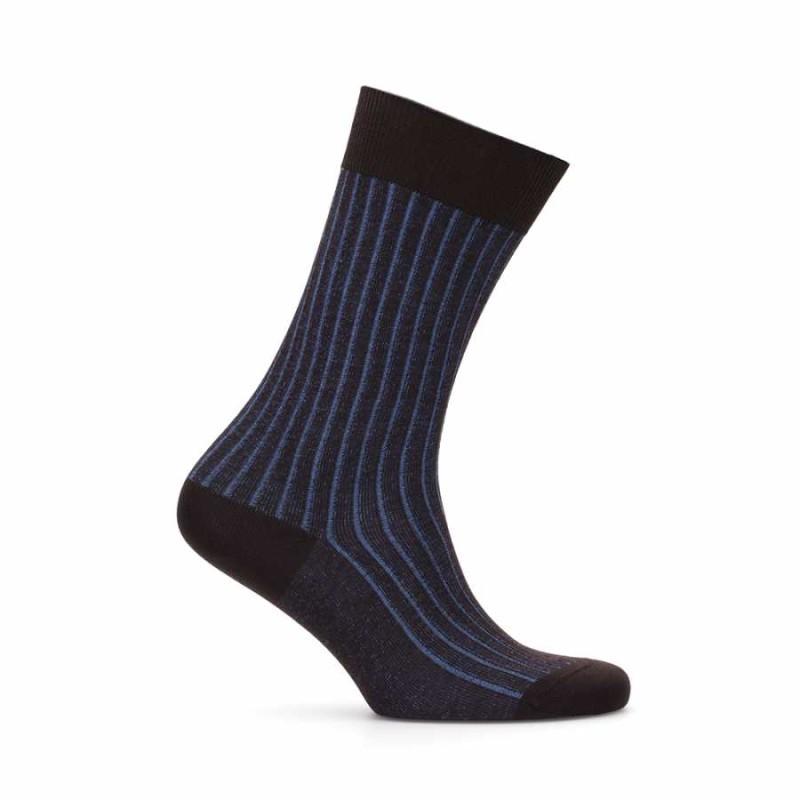Bresciani - Bresciani Kahverengi Mavi Çizgili Çorap