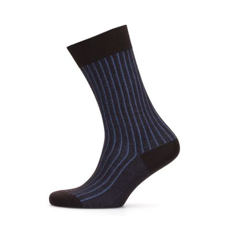 Bresciani - Bresciani Kahverengi Mavi Çizgili Çorap (1)