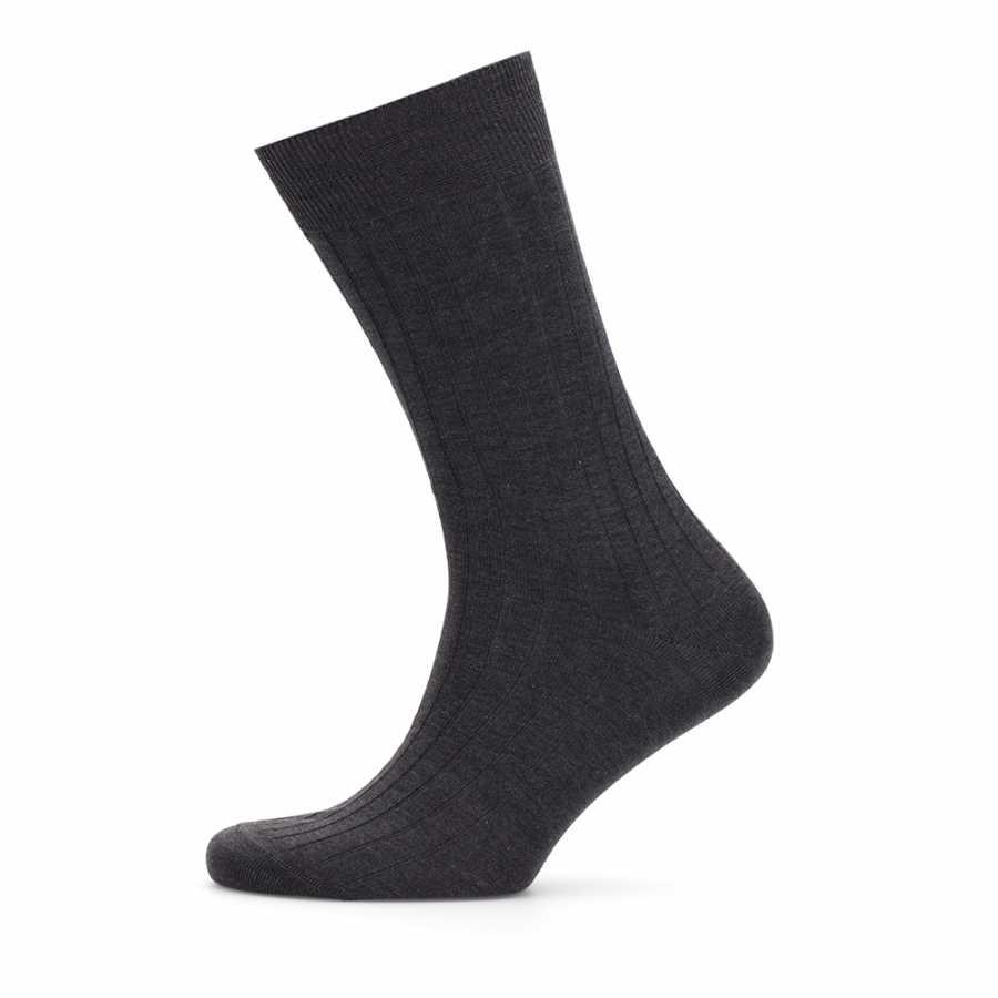 Bresciani Antrasit Çizgili Çorap