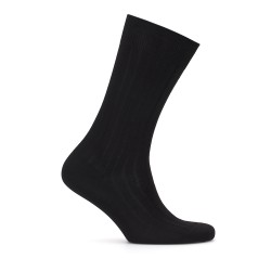 Bresciani Çizgili Siyah Çorap - Thumbnail
