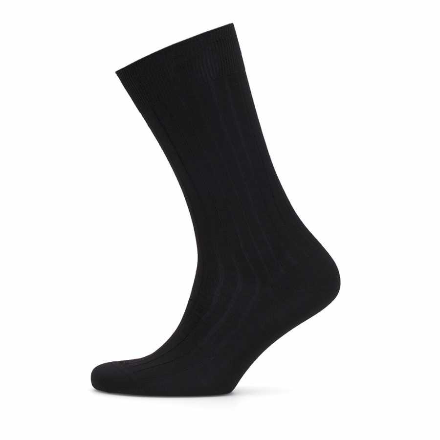 Bresciani Çizgili Siyah Çorap