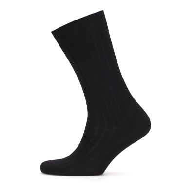 Bresciani - Bresciani Çizgili Siyah Çorap (1)