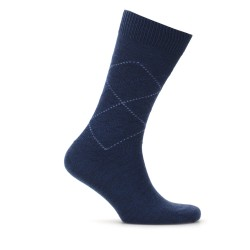 Bresciani - Bresciani Mavi Baklava Desenli Yün Çorap
