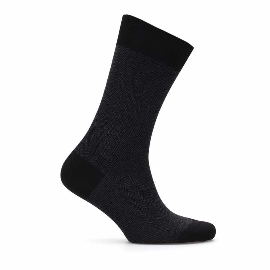 Bresciani Siyah Antrasit Balıksırtı Çorap