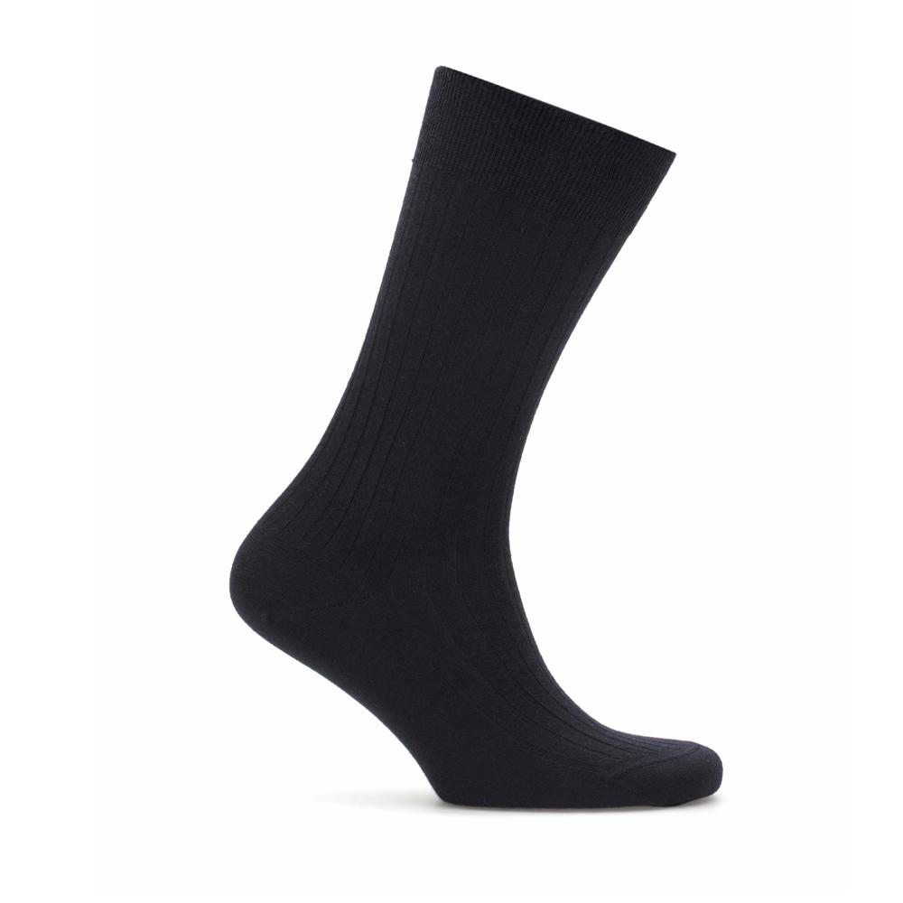 Bresciani Lacivert Çizgili Yün Çorap