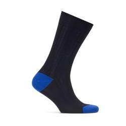 Bresciani - Bresciani Laci Çizgili Burun Ve Topuk Saks Mavi Çorap